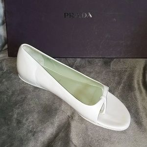 New Prada White Leather Open-toed Flat